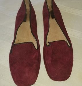 eb6a8c74aeb  PRE LOVED  Tahari Magenta Suede Leather Flats